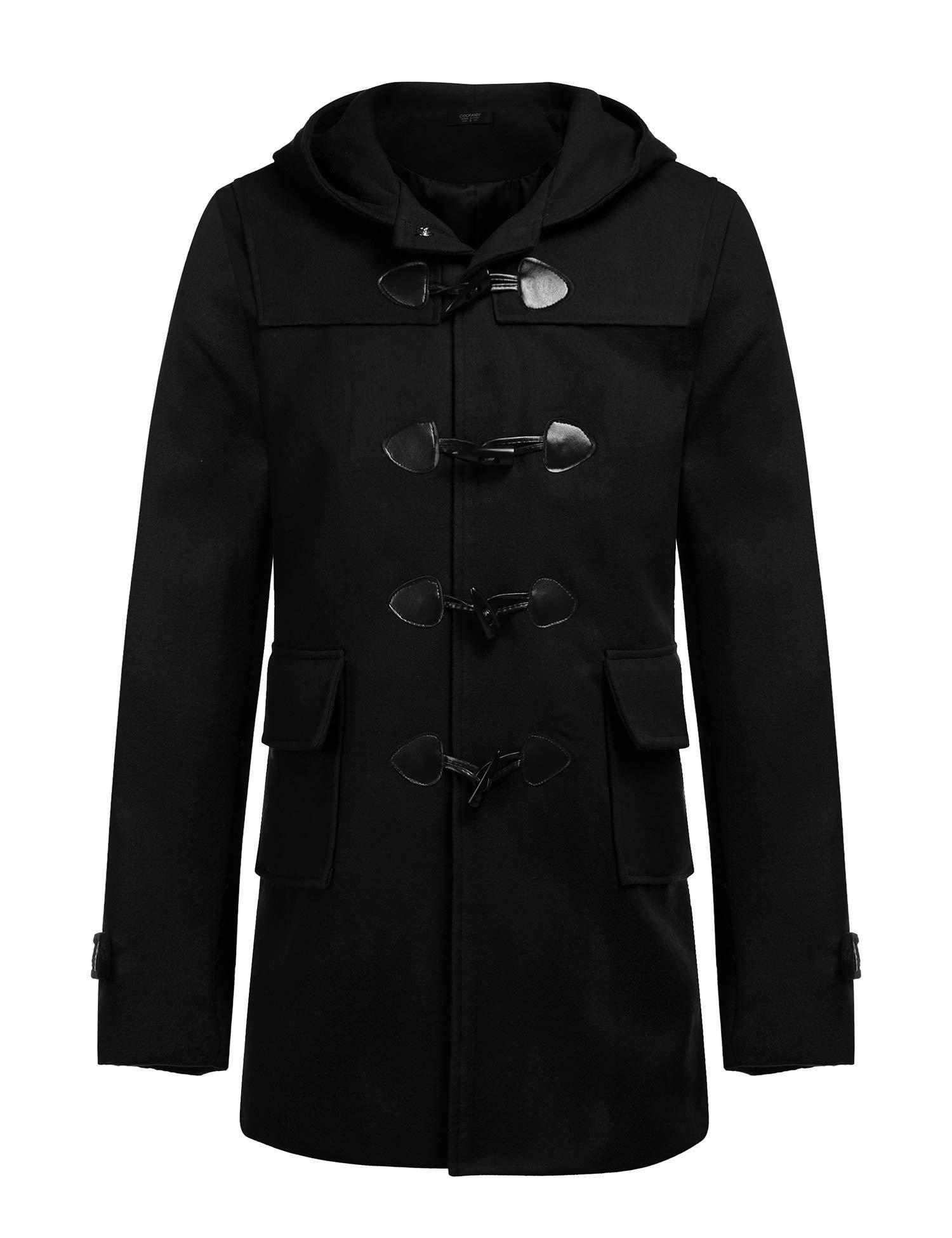 COOFANDY Mens Winter Slim Fit Mid Long Coat Jacket Horn Buckle Trench Overcoat Black by COOFANDY