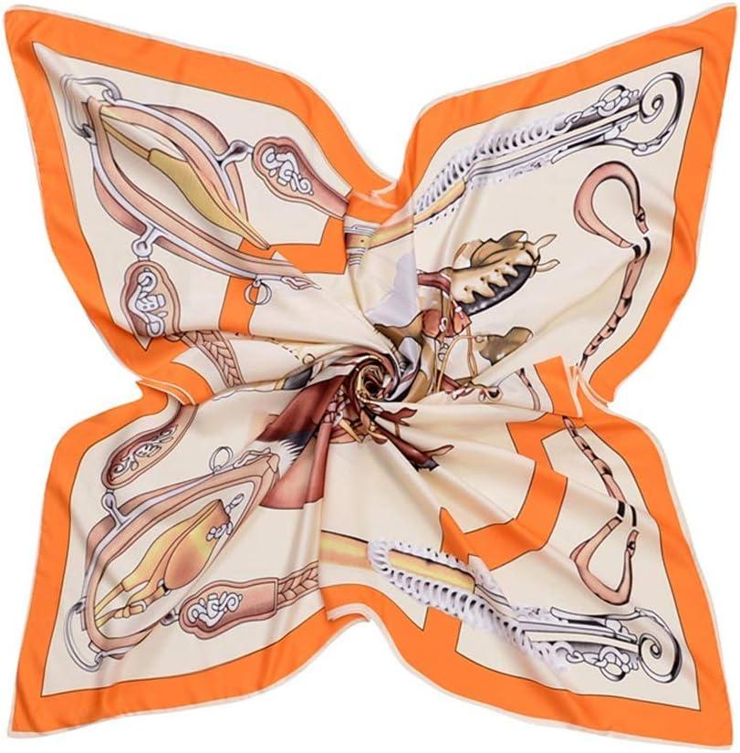 YGB Acogedor Bufanda Grande para Mujer Satén Cuadrado Pañuelo de Pelo Estampado de Caballo Bufandas de Seda para Mujer 130cm térmico (Color: Naranja, Tamaño: 130 * 130cm)