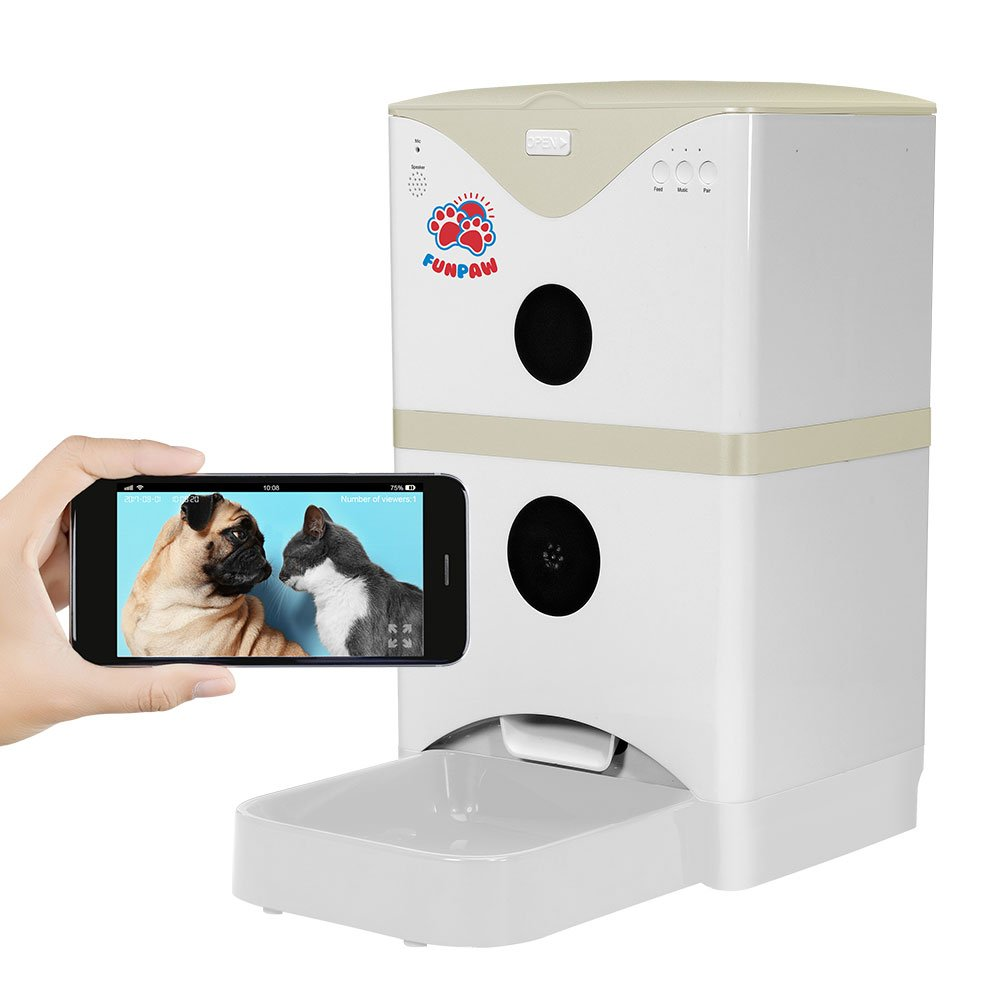 FUNPAW 6L Cat Dog Pet Smart Automatic Feeder with WiFi Camera 2-Way Speaking, Scheduled Feeding, Gray by FUNPAW