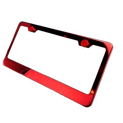 KA LEGEND Red Chrome T304 Stainless Steel License Plate Frame Holder Front Or Rear Bracket: Automotive