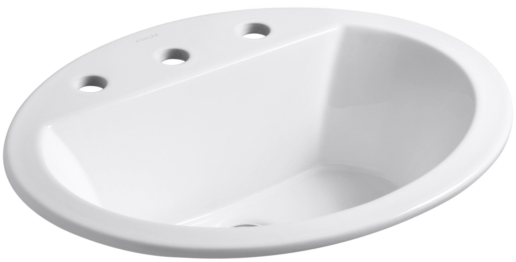 KOHLER K-2699-8-0 Bryant Oval Self-Rimming Bathroom Sink with 8-Inch Centers, White