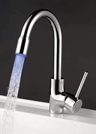 AUBIG Temperature Sensor 3 Colors LED Kitchen Faucet Pull Out Spray Mixer  Tap 360 Degrees Rotatory