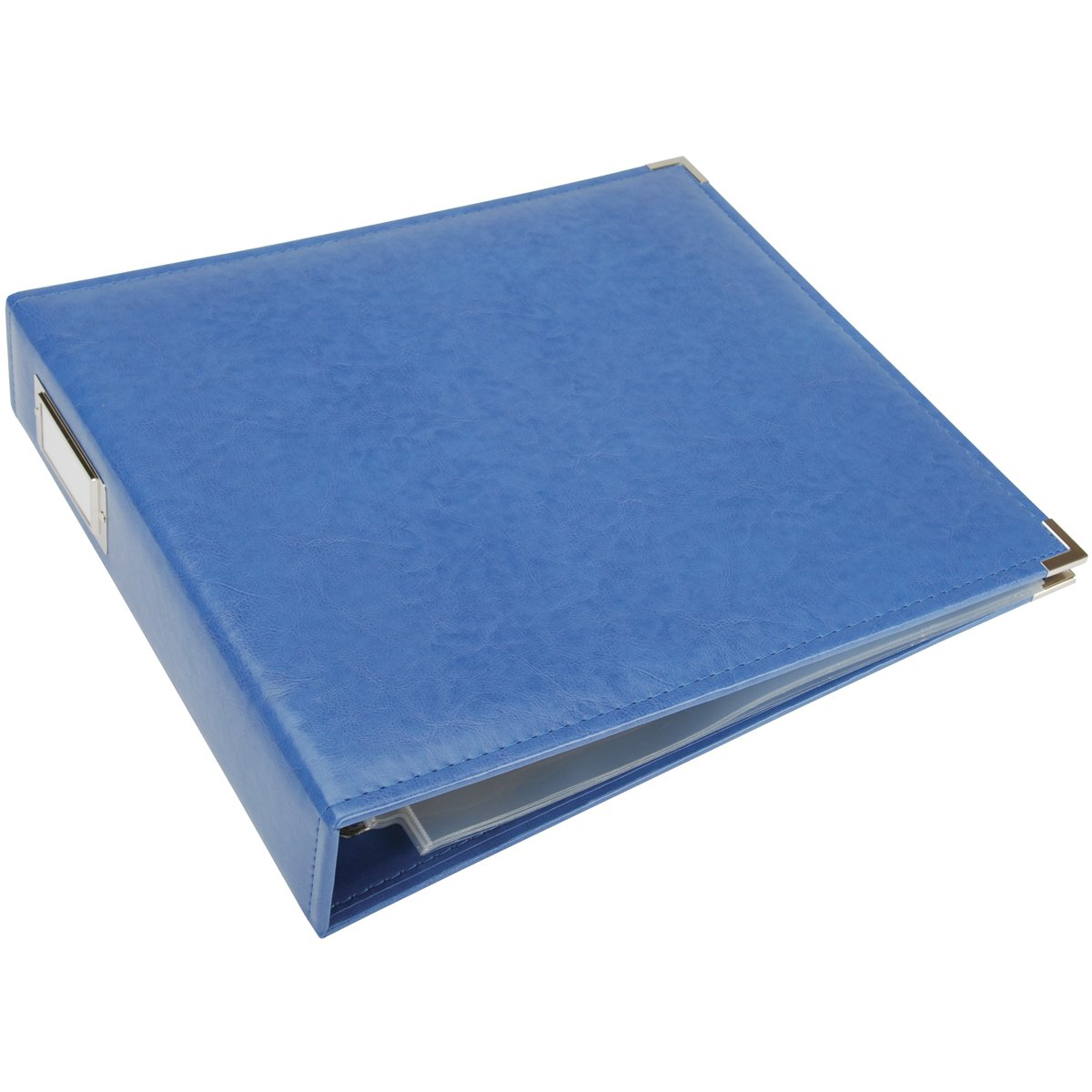 We R Memory Keepers We R Faux Leather 3-Ring Binder 13-Inch by 15-Inch, Country Blue