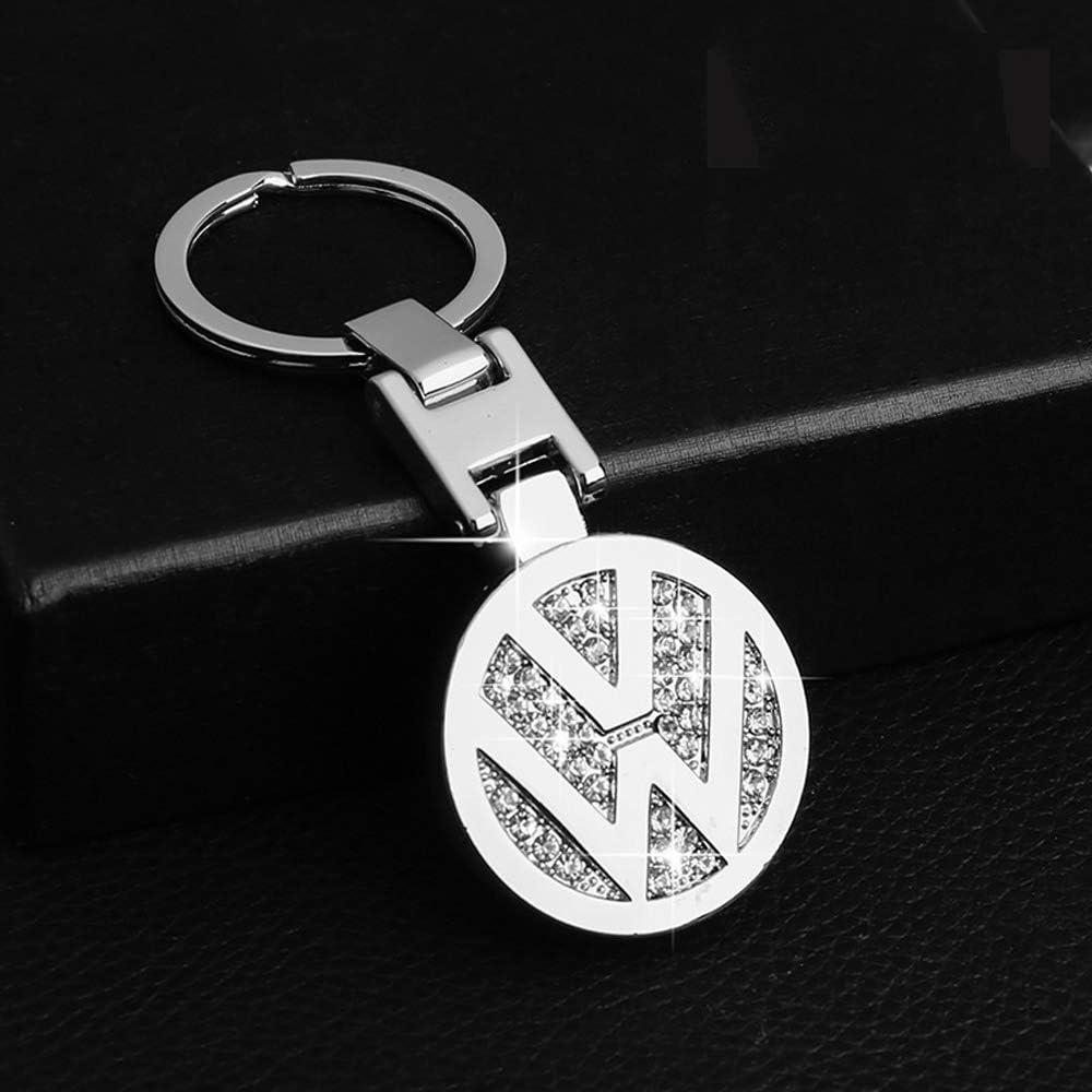 L/&U Insignia del Coche del Coche de Keychain Llavero de Metal 3D Placa Colgante de Doble Cristal de circ/ón Decorativo Cuerda de Seguridad Llavero de Regalo Accesorios,For Audi