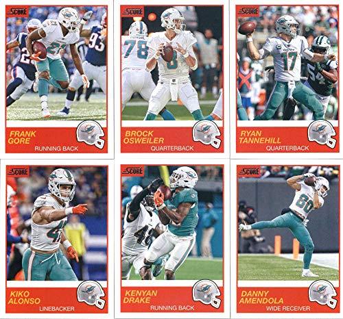 2019 Panini Score Football Veteran Miami Dolphins Team Set of 10 Cards: Ryan Tannehill(#132), Brock Osweiler(#133), Frank Gore(#134), Danny Amendola(#135), Kenyan Drake(#136), Kiko Alonso(#137), Xavien Howard(#138), Albert Wilson(#139), Kenny Stills(#140), T.J. McDonald(#141)