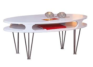Links 50300205 Couchtisch Weiss Matt Glastisch Wohnzimmertisch Wohnzimmer Tisch Oval Modern NEU