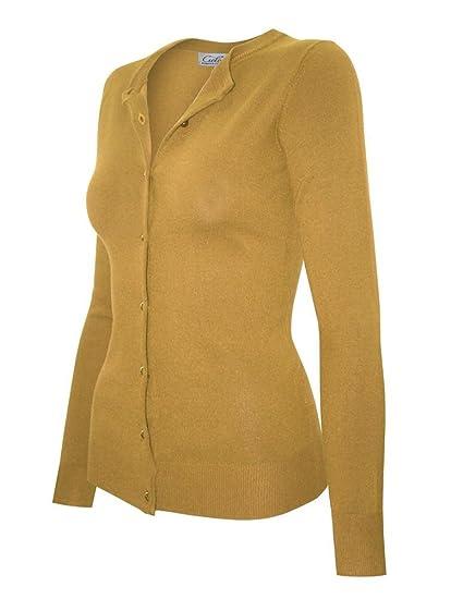 Shezpretty Women Pearl Button Down Long Sleeve Soft Knit Cardigan