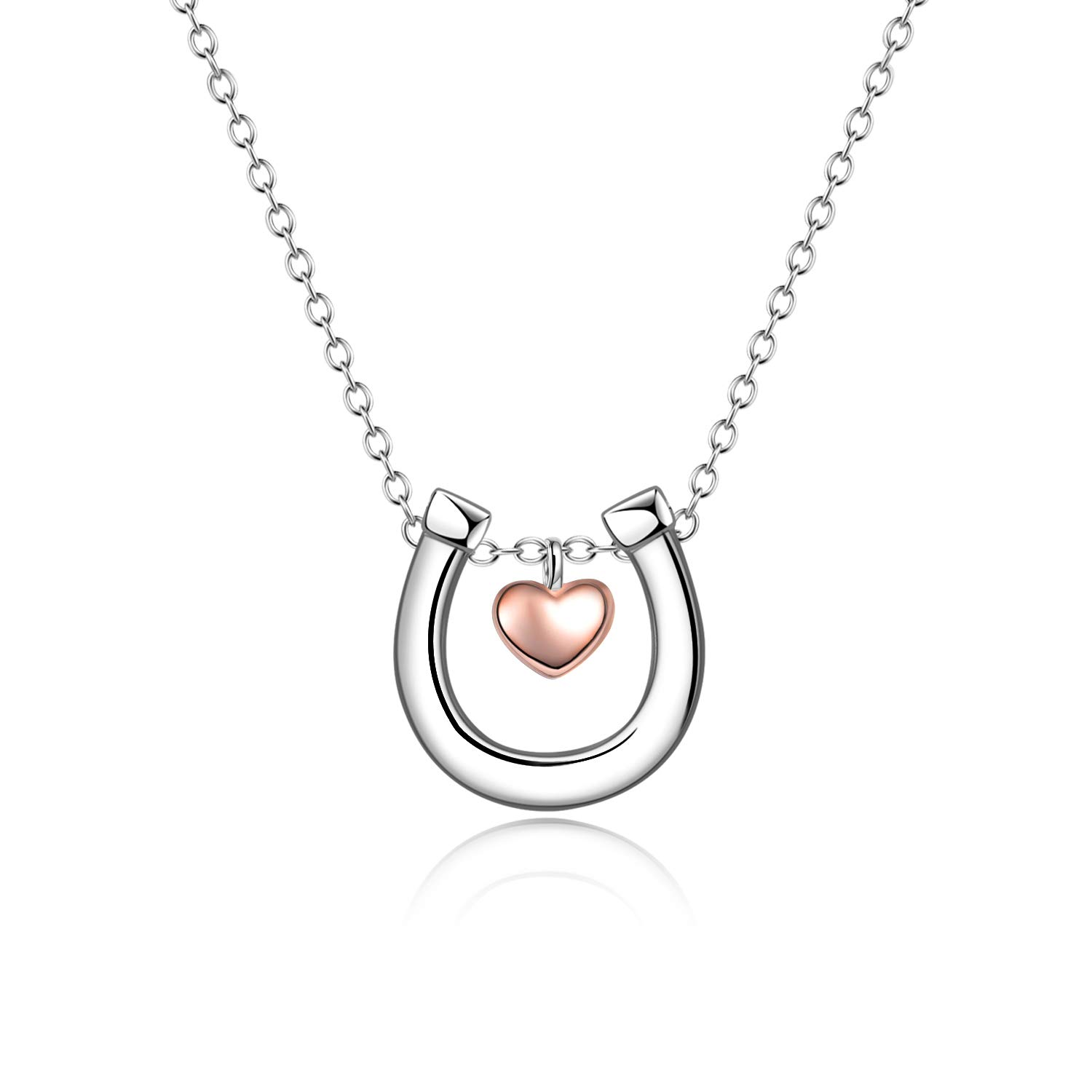 Sterling Silver Lucky Horseshoe Necklace Love Heart Pendant Horse Necklace Jewelry Gifts for Women Ladies 18'' (horseshoe necklace 18'') by POPLYKE