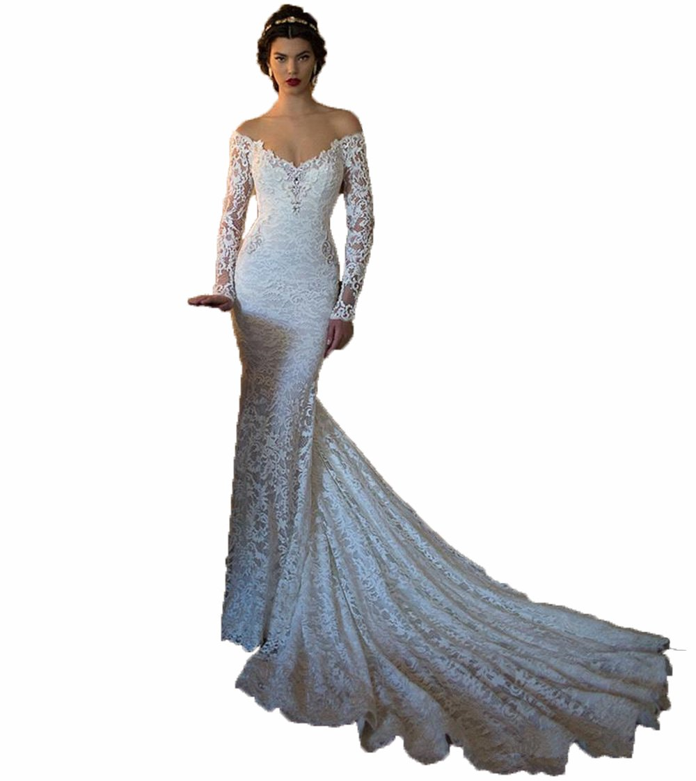 Little Prettydress Elegant Women S Spring Sweetheart Off Shoulder Mermaid Wedding Dresses Long Sleeve Lace Bridal Gowns