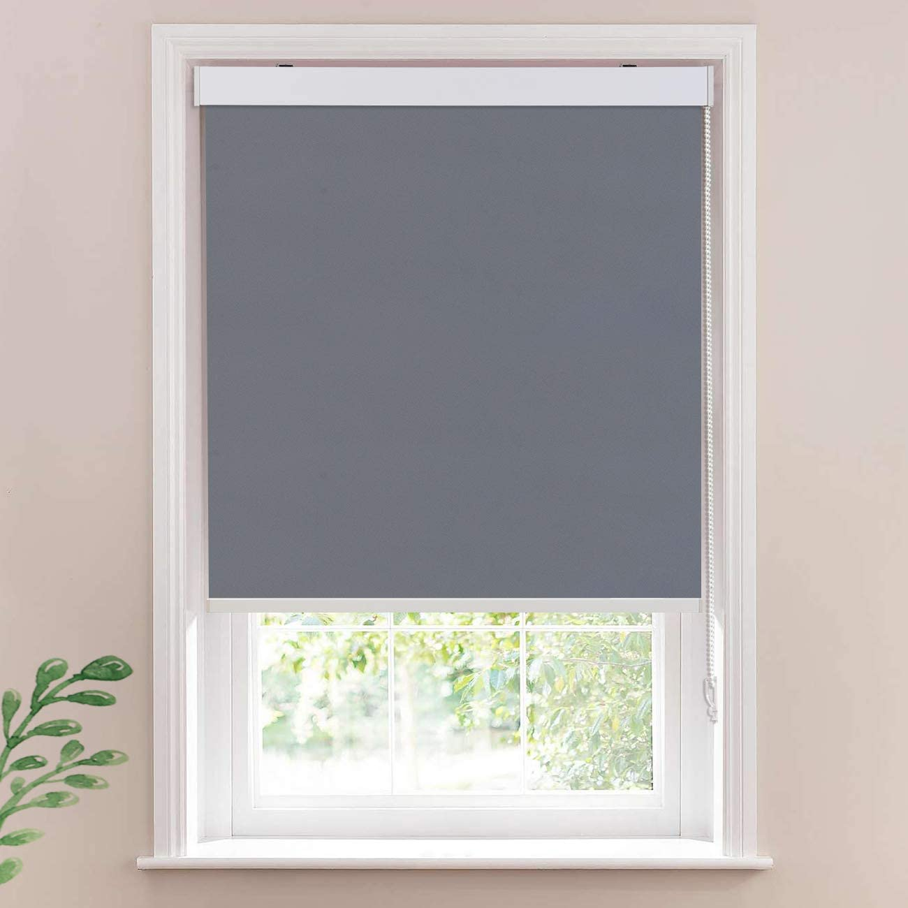 Keego Window Roller Blinds Office Blackout Window Shades, Room Darkning Bedroom Privacy Shades Thermal Insulated for Living Room Gray 100 Blackout,32 W x 60 H Inch