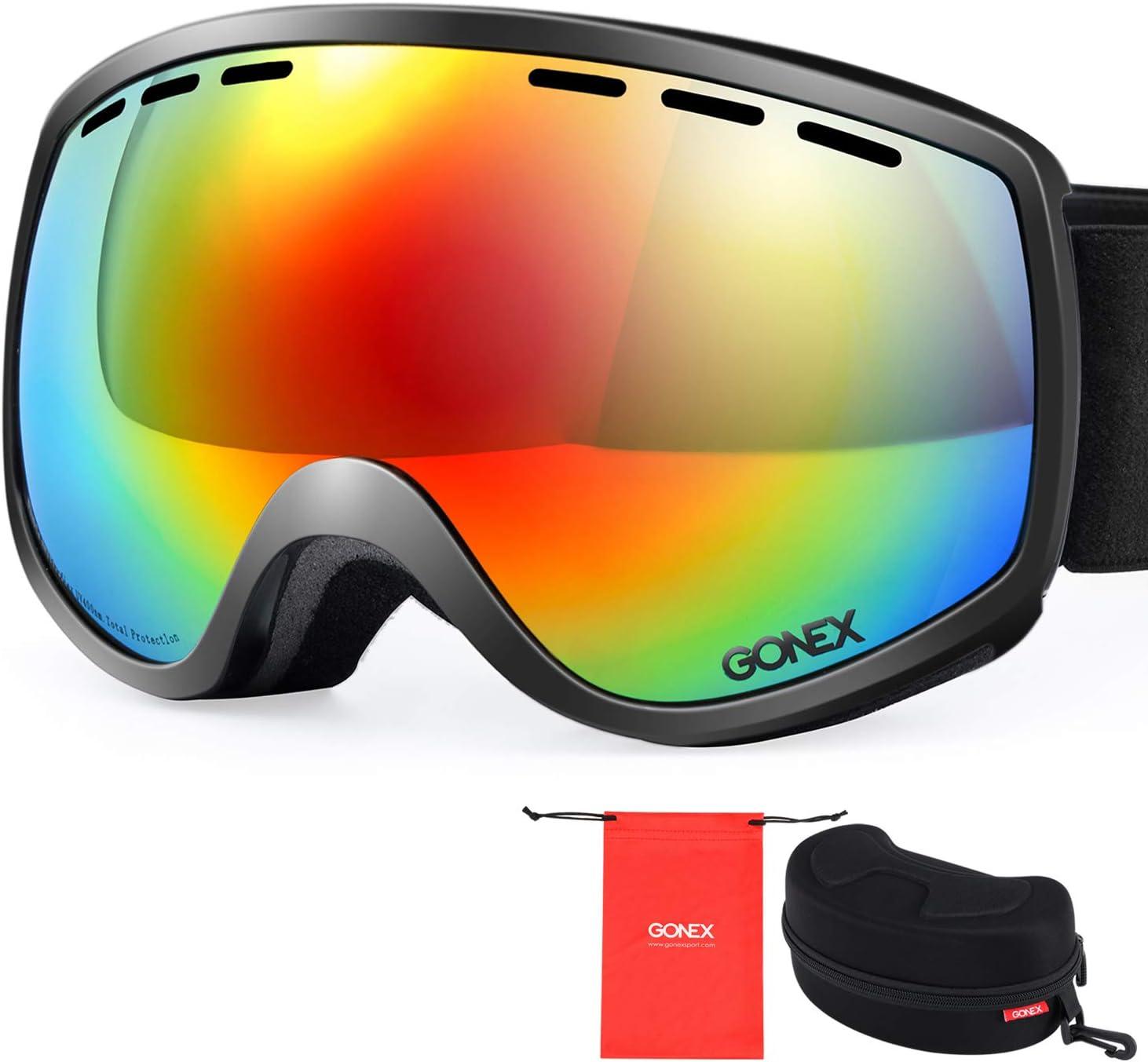 Black Kids Snowboard Ski Snow Goggles Spherical Lens Children Sport Glasses