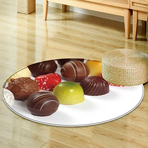 Praline Liqueur - Round Area Rug Carpet Photo of Assorted Truffles pralines and Liqueur Filled Chocolates on White Back Living Dining Room Bedroom Hallway Office Carpet -Round 47