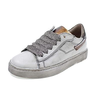 cb76e1fc7467f8 Andrea Morelli NIEDRIGE Schuhe MIT SCHNÜRSENKELN UND Zip Made IN Italy  MÄDCHEN M4A450256 Weiss Gold