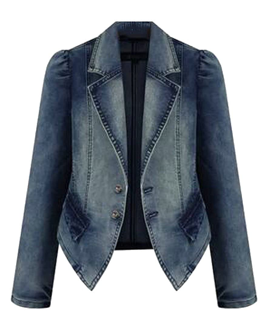 Wofupowga Womens Plus Size Stretch Coat Faded Jean Blazer Denim Jacket
