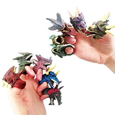 Binory Realistic Dinosaur Finger Puppets Magic Dragons Rings Figures Toys Set, Dino Head Action Figure Toys Figurines Ring for Childrens Role Playing Toys Party Supplies Favors Birthday Gift (12PCS): Toys & Games