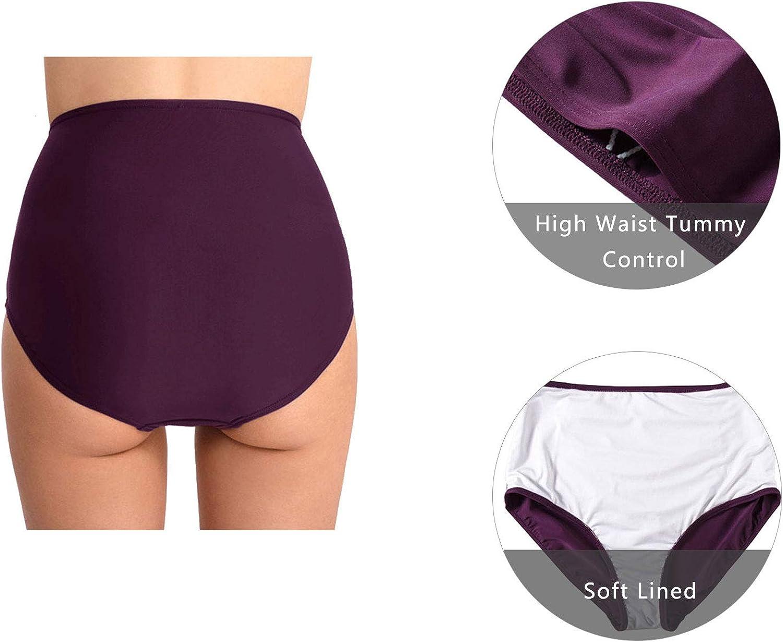 Ecupper Damen Bikini Tankini Bottom Slip High Waist Ruched Badeshorts Badeslip Bikinihose