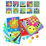 TTtree Button Art, Color Matching Mosaic Pegboard Set Mushrooms Nails Early Learning Educational Toddler Toys for Boys & Girls