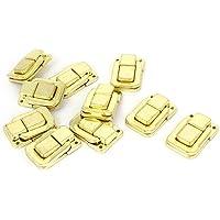Uxcell 10 Pcs Jewelry Box Latch Hasp Pad Chest Lock Hook Hinge Brass Tone