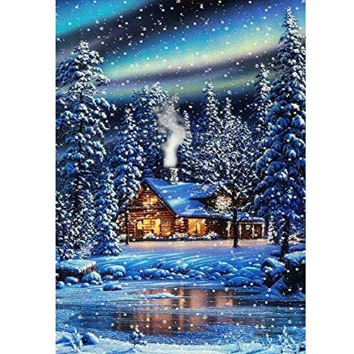 5D Full Drill Diamond Painting Snow Scene Pattern Diamond Embroidery Pictures for DIY Home Art Craft Painting Decoration