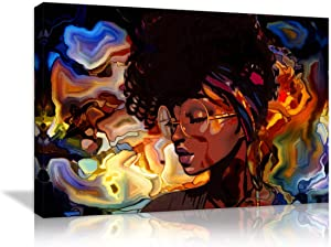 Abstract Wall Art African American Women Painting Canvas Abstract Graffiti Style Picture Wall Decor for Living Room Hippie Bedroom Bathroom Stretched and Framed Ready to Hang