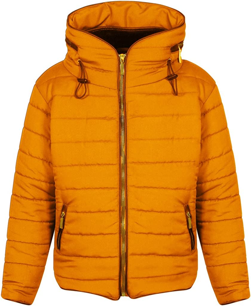 Girls Quilted Puffa Padded Hooded Gold Zip Bubble Collar Warm Thick Jacket