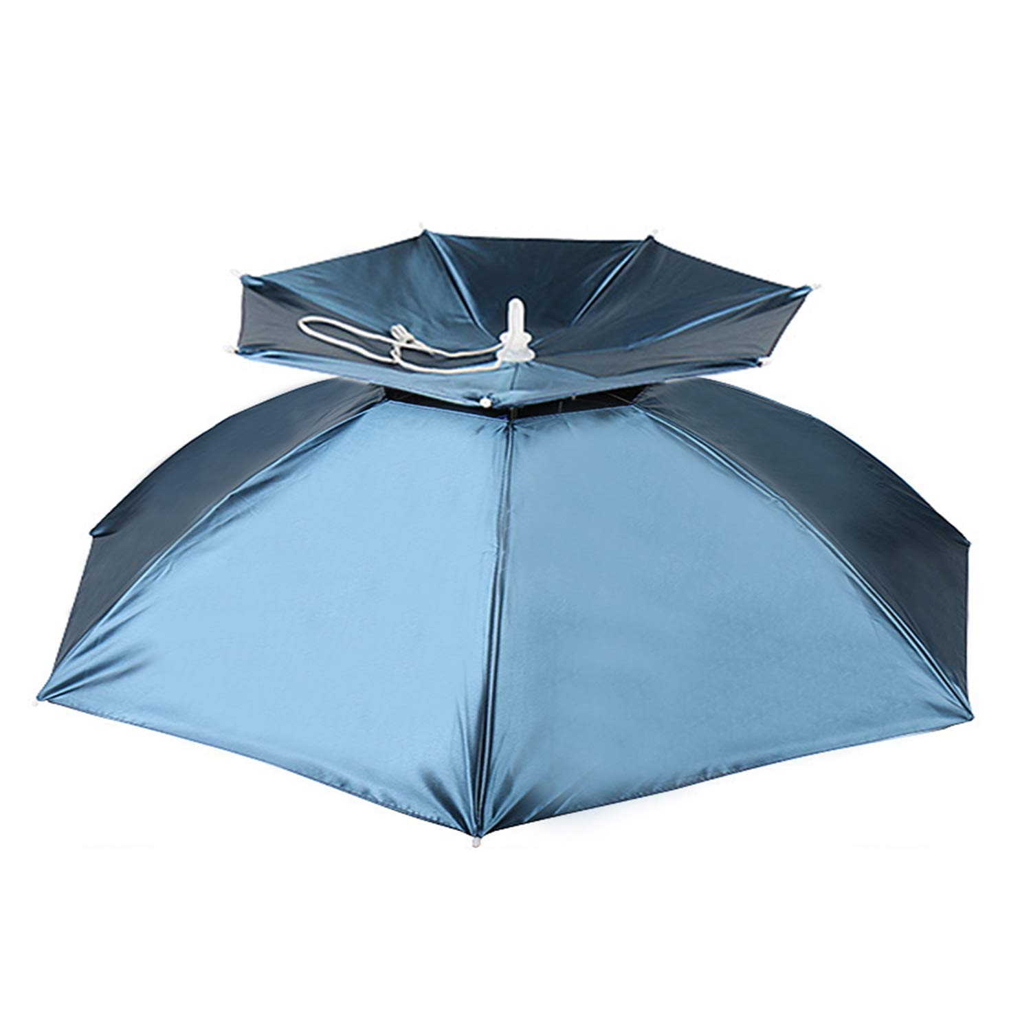 Hunter's Tail UV Umbrella Hat, with Umbrella Fishing Gardening Double Folded Umbrella Double Canopy Rubber Circle 77cm