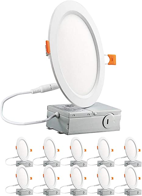 12W=100W 6 Pack Lightdot 5//6 Inch 3000K//4000K//5000k// Color Temperature Adjustable 12W LED Recessed Down Light Dimmable