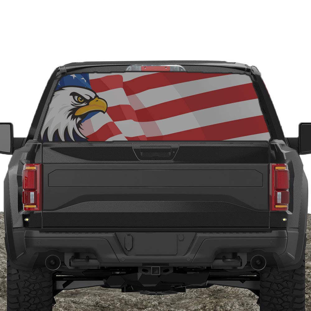Amazon com xplore offroad american flag rear window decals for trucks s american eagle automotive