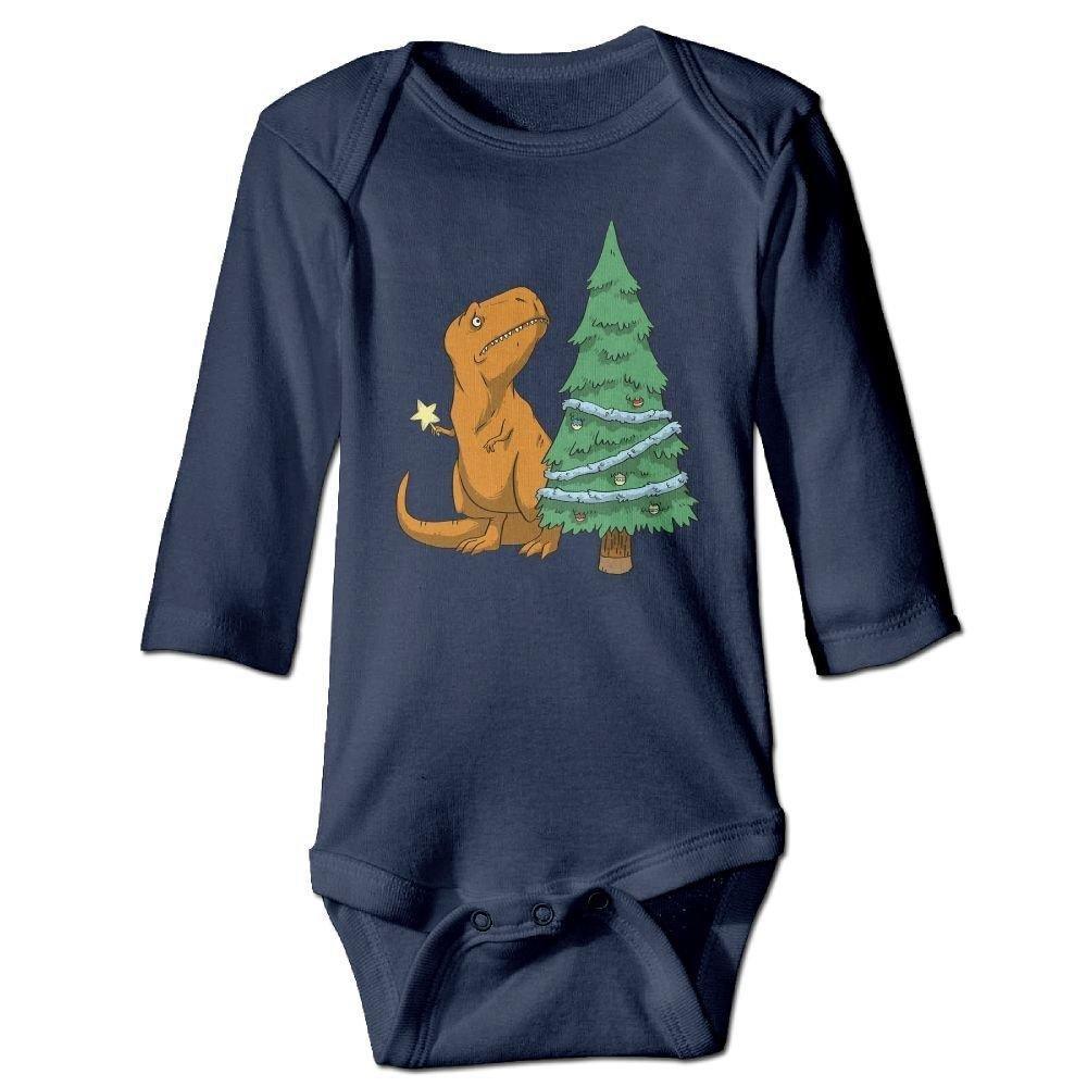 braeccesuit Baby Dinosaur Christmas Tree Long Sleeve Romper Onesie Babysuit Jumpsuit