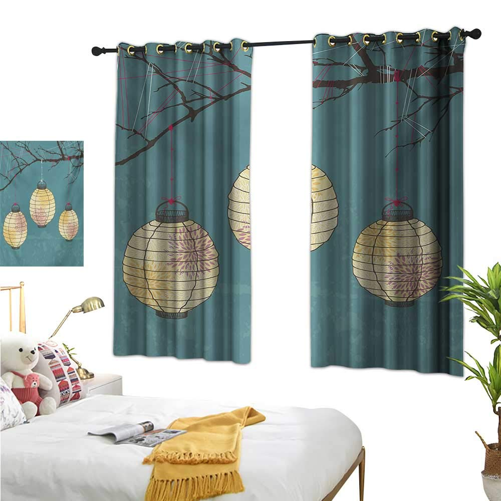 Warm Family Navy Blue Curtains Lantern,Three Paper Lanterns Hanging on Branches Lighting Fixture Source Lamp Boho,Teal Pale Yellow 72''x96'',Room Darkening Thermal Insulated by Warm Family (Image #1)