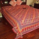 Handmade Cotton Hand Block Print Dabu Floral Tapestry Tablecloth Bedspread Throw Beach Sheet Sun Canopy Full