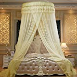 Mosquito Net Court Style Bed Canopy For Children Fly Insect Protection Indoor Decorative Height 2.8m Top Diameter 1m Yellow