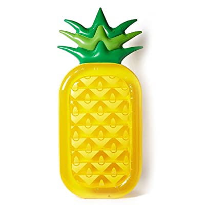 Pearl Enterprises Inflatable Giant Rideable Pineapple Float Toy - Floatie Ride On Blow Up Summer Fun Pool Toy Lounger Floatie Raft for Kids & Adults: Toys & Games