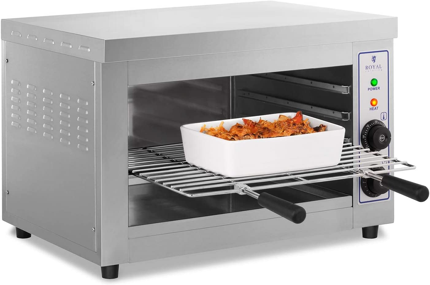 Royal Catering Salamander Grill Überbackgerät (19 V, 19 W, 19–19 °C,  Edelstahl, Auffangbehälter, Timer, Grillrost)