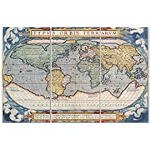 Stunning Views Vintage World Map - Multi Panel Split Canvas Wall Art Set - 12 x 24 3 piece (Total size 24 x 36 inch) – Gallery wrapped & framed décor piece– Ready to hang!