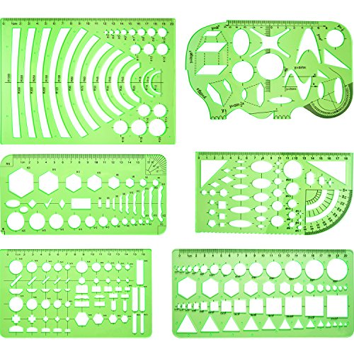 Frienda 6 Pieces Drawings Templates Measuring Template Plastic Geometric Rulers for Office and School, Clear Green by Frienda