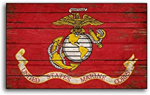 wonbye Wood Hanging Sign Unites States Marine Corp Wood Flag Sign Flags Wooden Military USMC Home Wall Decor Print Printed Sign Decor Sign Wall Signs