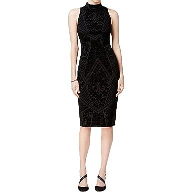 4f1bbe2ebb Bar III Womens Velvet Trim Back Slit Party Dress at Amazon Women s ...