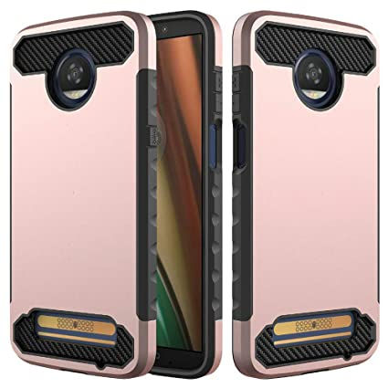 Moto Z3 Play Case, Carbon Fiber Slim Trim Duarable Cases Air Cushion Tecnology TPU Impact Silicone Protective for Moto Z3 Play (Black)