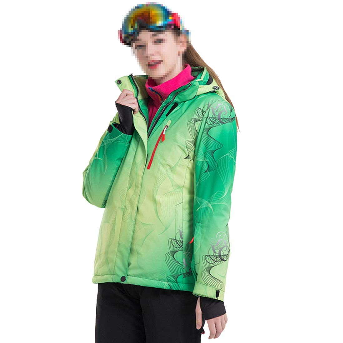 Green XIAMEND Breathable Women's Ski Suit Waterproof Snowboard Ski Jacket (color   White, Size   M)