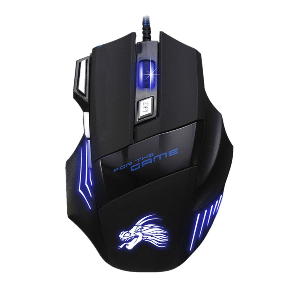 GreedyWolf Wired Gaming Mouse 5500DPI 7 Button USB Optical Mouse LED Computer Mice for Pro Gamer Black