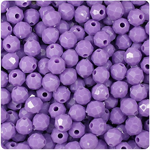 BEADTIN Lilac Light Purple Opaque 8mm Faceted Round Craft Beads -