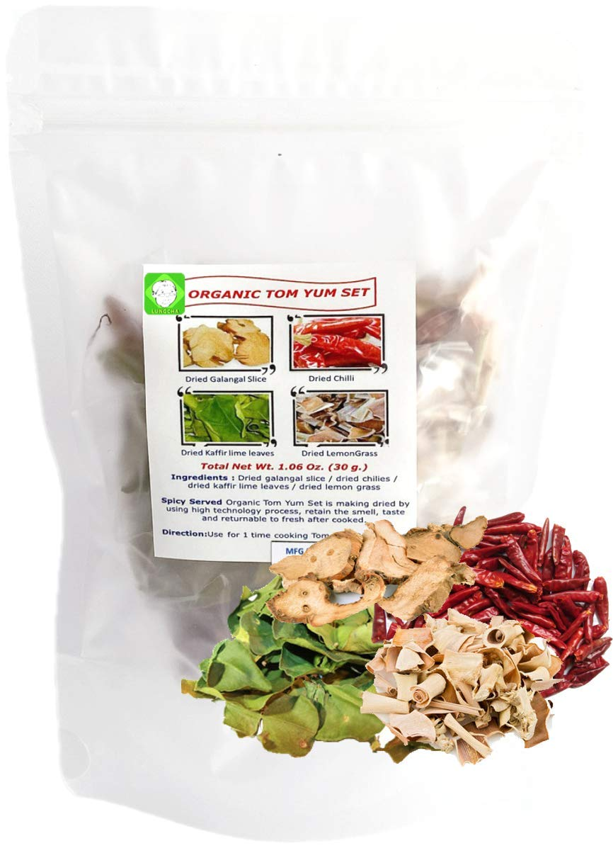 Tom Yum Set for 1 Time Cooking in Hot Spicy Soup 2-4 Serving 30 Gram Of Dried Chili, Dried Galangal, Dried Lemongrass, Dried Kaaffir Lime Leave