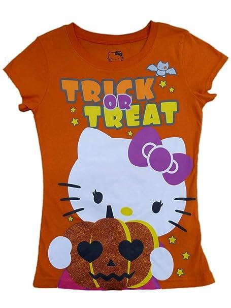 324f42bf Hello Kitty Girls Orange Trick Or Treat T-Shirt Halloween Fitted Tee Shirt L
