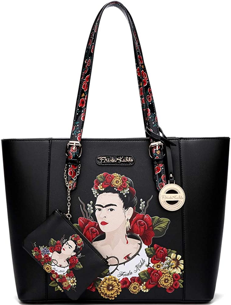 Authentic Frida Kahlo Print PU Leather 2 in 1 Large Shopper Tote Bag