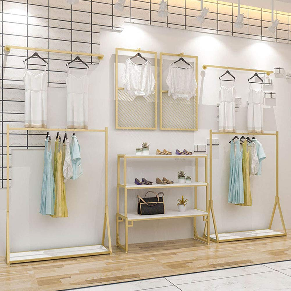Amazon Com Modern Clothing Display Racks Customized Metal Garment Rack Clothes Store Interior Design Rustic Boutique Used Clothes Racks For Showroom Gold Handmade