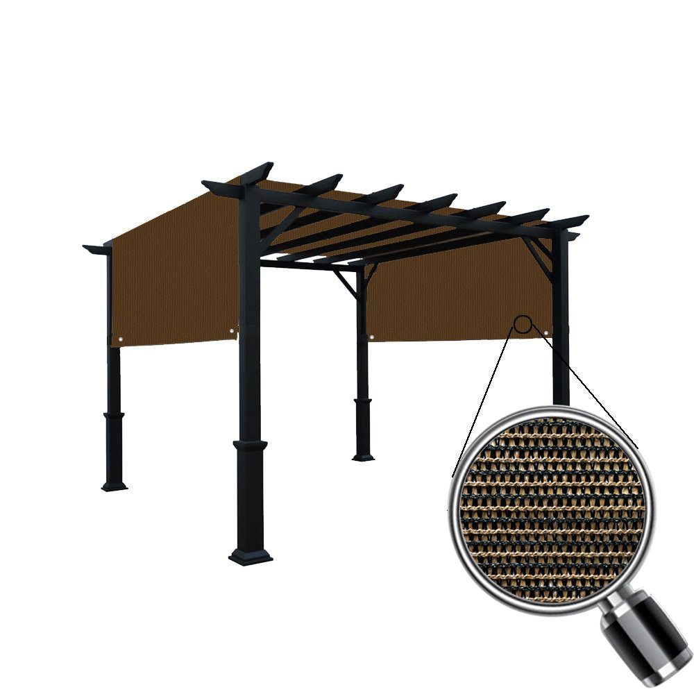 Alion Home Custom HDPE Permeable Canopy Sun Shade Cover Replacement with Rod Pockets for Pergola (14' x 10', Mocha Brown) by Alion Home (Image #3)