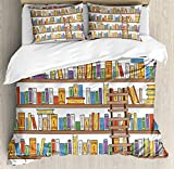 Ambesonne Modern Duvet Cover Set King Size, Library Bookshelf with A Ladder School Education Campus Life Caricature Illustration, Decorative 3 Piece Bedding Set with 2 Pillow Shams, Multicolor