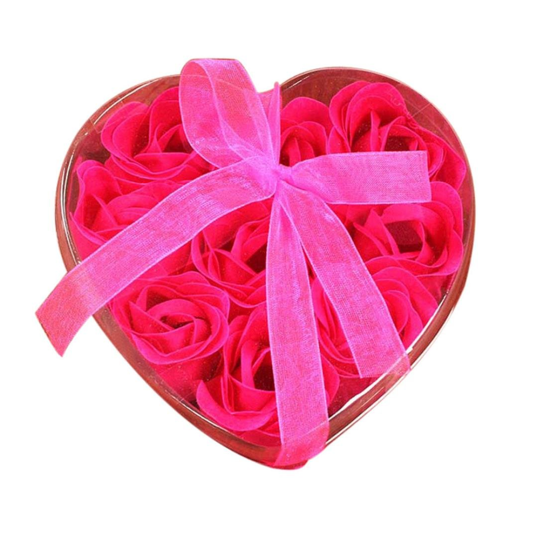 Vacally 1Set 9Pcs Heart Scented Bath Body Petal Rose Flower Soap Wedding Birthday Decoration Best Gift (Hot Pink)