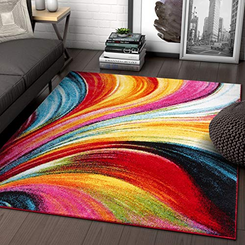 100 Multi Color Rugs - Aurora Multi Red Yellow Orange Swirl Lines Modern Geometric Abstract Brush Stroke Area Rug 5 x 7 ( 5'3